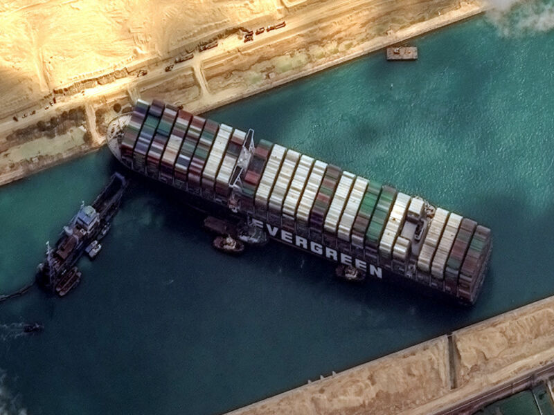 Maxars WorldView-2 collected new high-resolution satellite imagery of the Suez canal and the container ship <em data-recalc-dims=