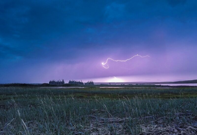 Lightning strikes in the far north of Canada.