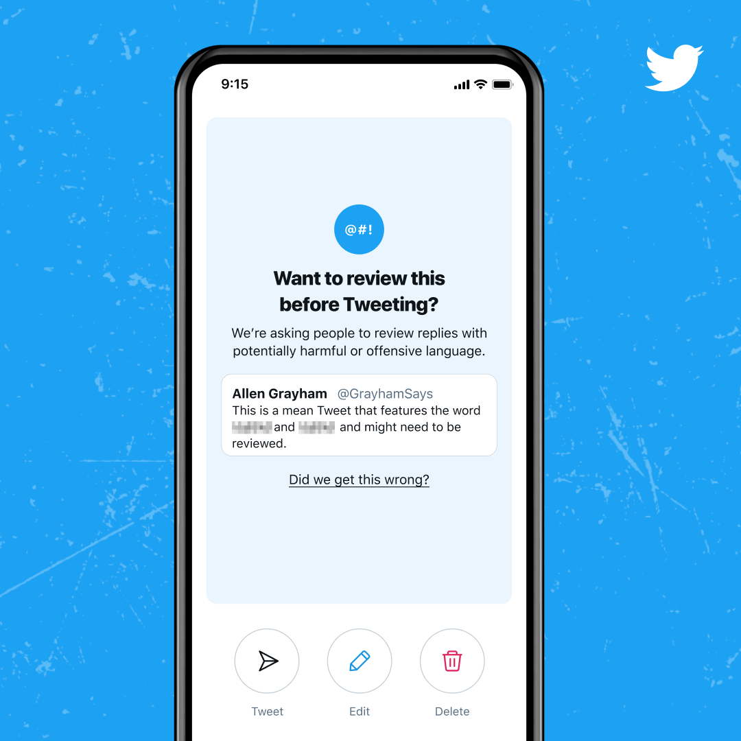 A screenshot sample of how the notice will look in action. The feature appears to specifically target replies on the site.