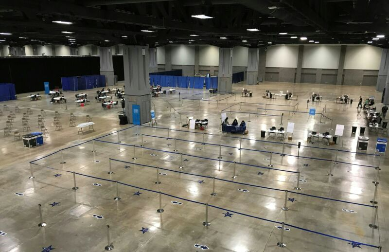 A mostly deserted convention center.