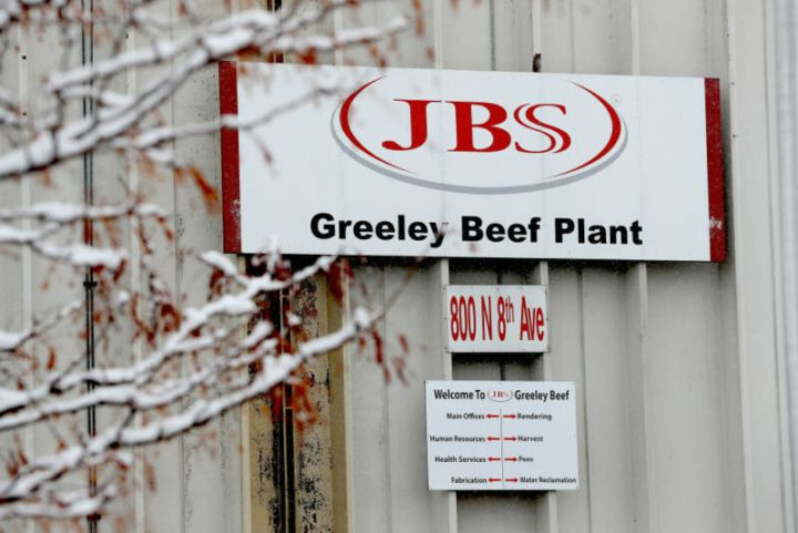 Exterior sign for JBS Greeley Beef Plant.