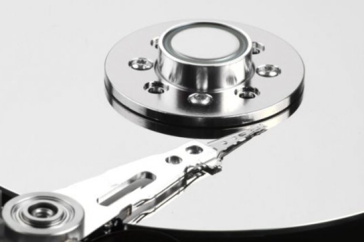 Extreme close-up image of hard drive components.