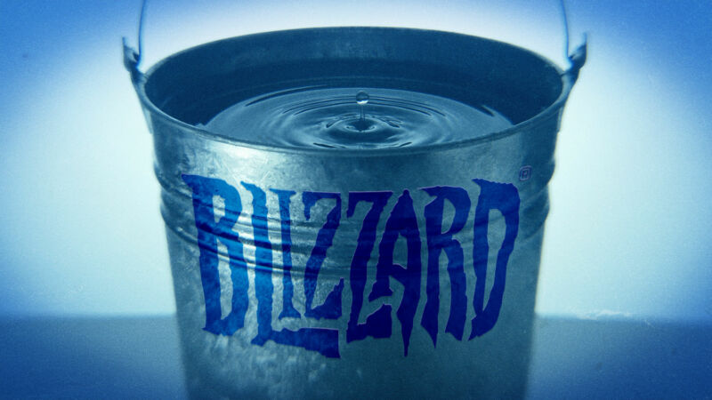The Blizzard logo has been emblazoned on a bucket.