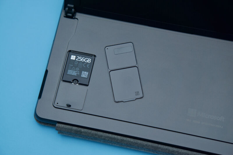 The Surface Pro 8's replaceable SSD.