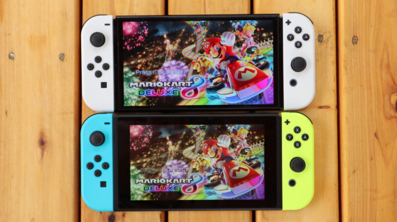 Side-by-side comparison for two handheld video gaming devices.