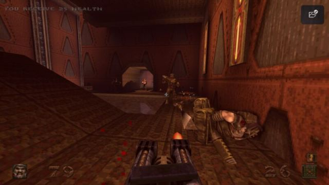 Screenshot from remastered version of video game Quake.