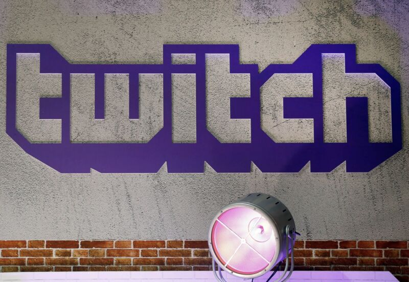 The twitch logo projected on a wall.