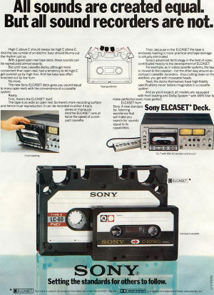 An Elcaset poster, showing you its relative size. Click to zoom in and read the marketing spiel!