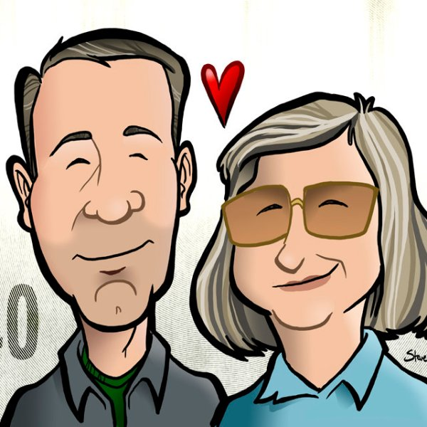 Mom and Dad 40th Anniversary caricature