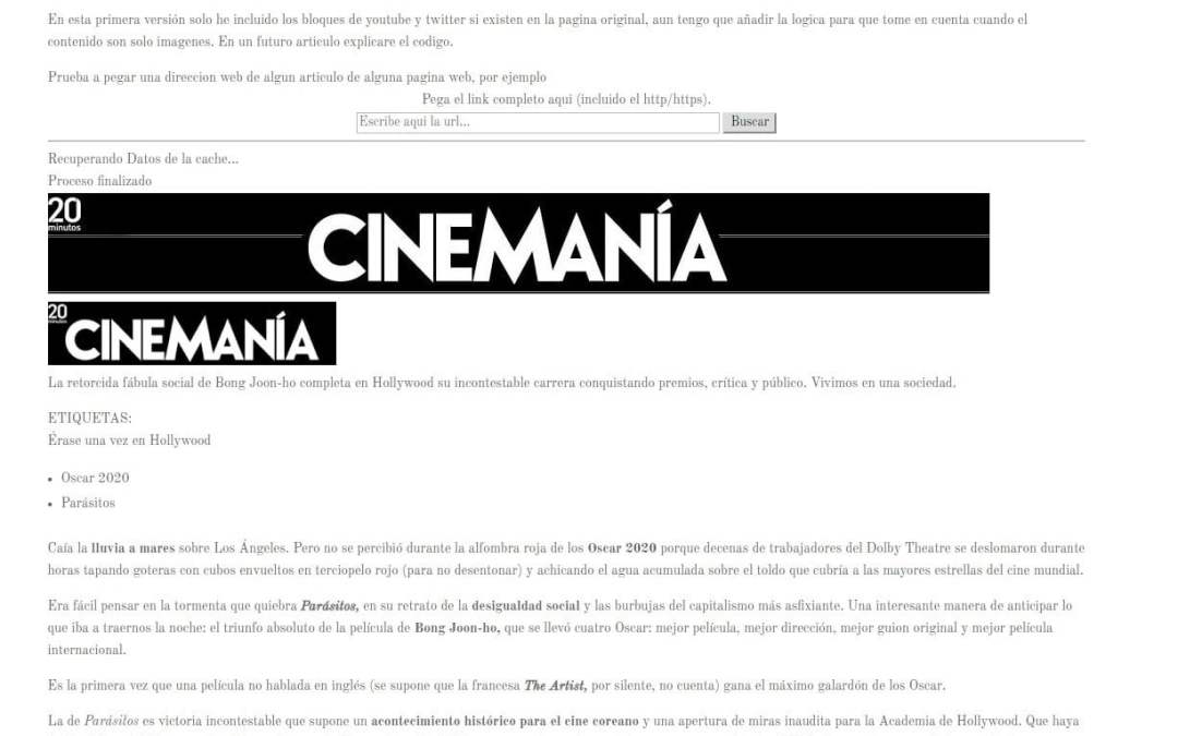 Extractor de contenido relevante de páginas web