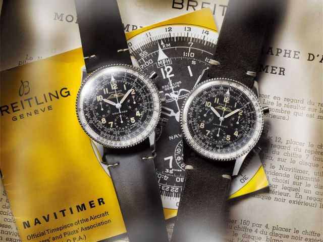 Navitimer Ref. 806 1959 Re-Edition and the historical Navitimer Ref. 806 from 1959, from left to right. (PPR/Breitling)