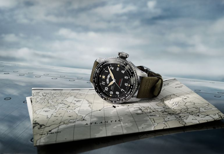 "Pilot's Watch Timezoner Spitfire Edition ""The Longest Flight"" by IWC Schaffhausen. (Photo: Courtesy of IWC Schaffhausen)"