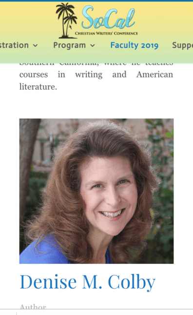SoCal Christian Writers' Conference Faculty Member Denise M. Colby is teaching SEO Marketing and Author Brand at SoCalCWC2019, Denise Colby