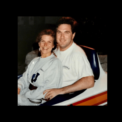 photo of Ken and Denise Colby riding the Matterhorn at Disneyland in 1994