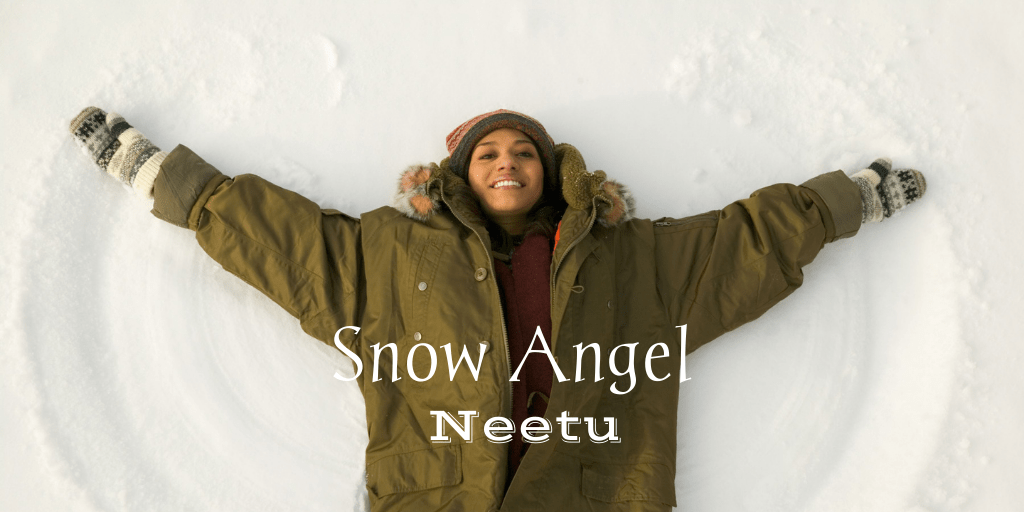 a woman making a snow angel