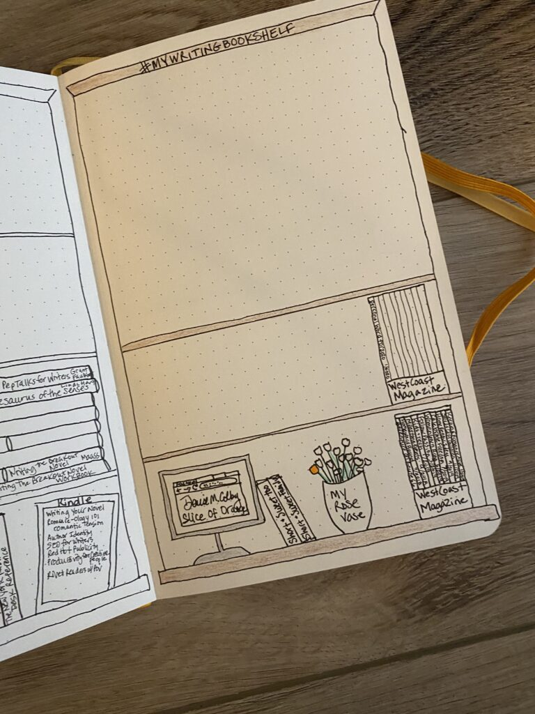bullet journal page idea with highlighting published works done by Denise M. Colby