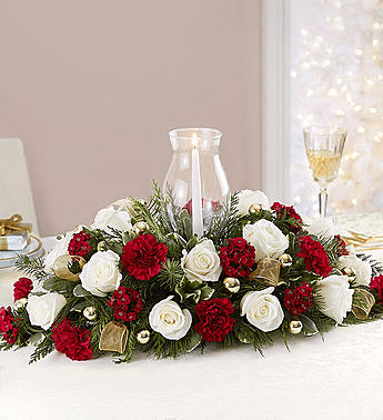 Elegant Christmas Centerpiece With Hurricane And Candle In