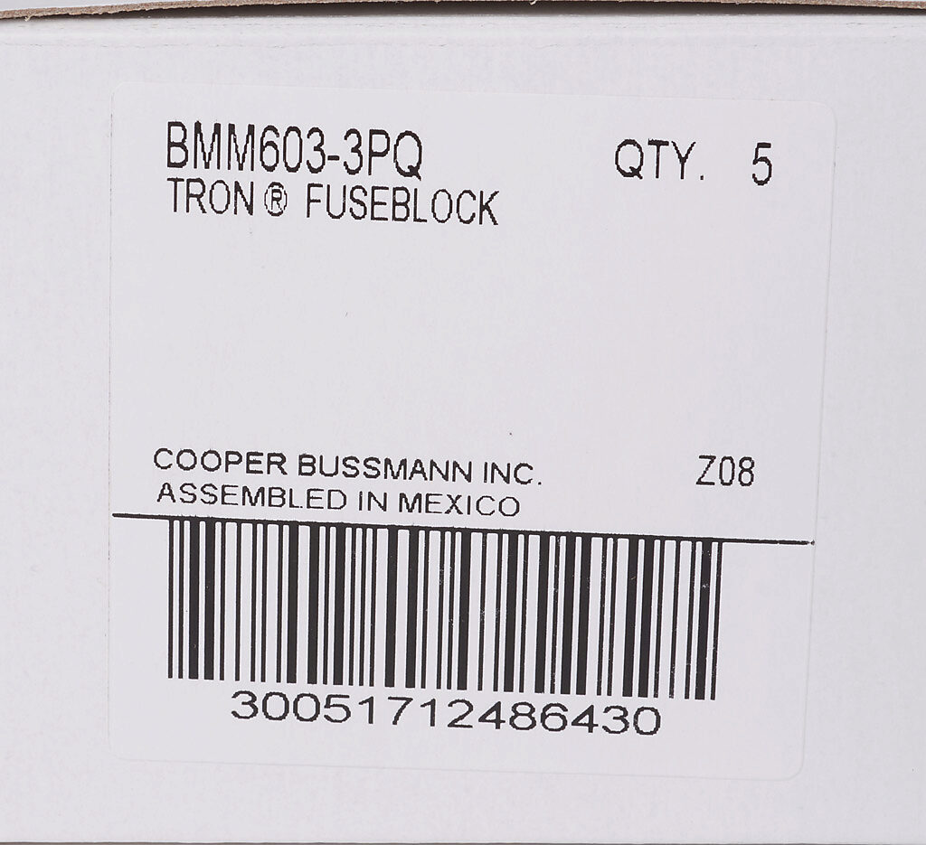 Modular Fuse Block 30a 3 Pole Pn Bmm603 3pq