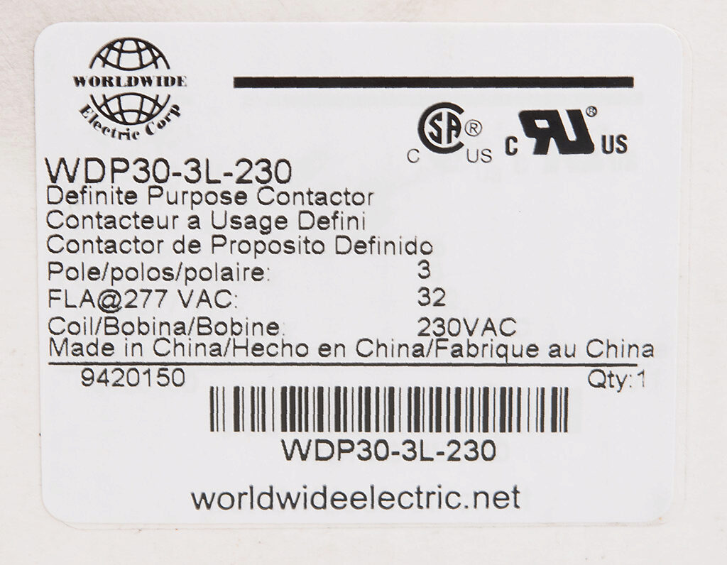 Definite Purpose Contactor 32a 230 Vac 50 60 Hz Coil