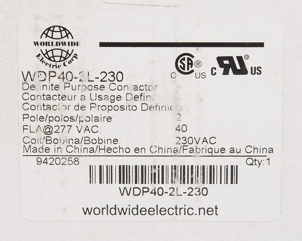 Definite Purpose Contactor 40a 230 Vac 50 60 Hz Coil