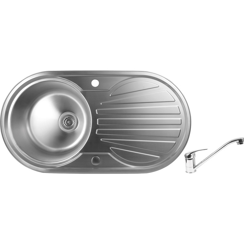 stainless steel round bowl kitchen sink drainer 915 x 485 x 200mm deep