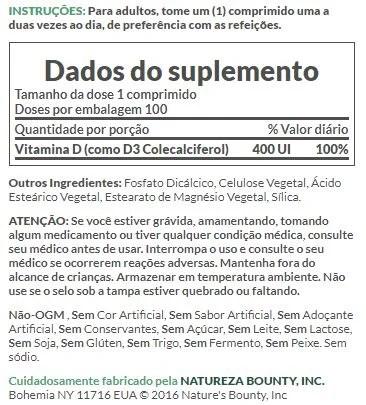 Vitamina D3 Natures Bounty, 400IU, 100 Comprimidos