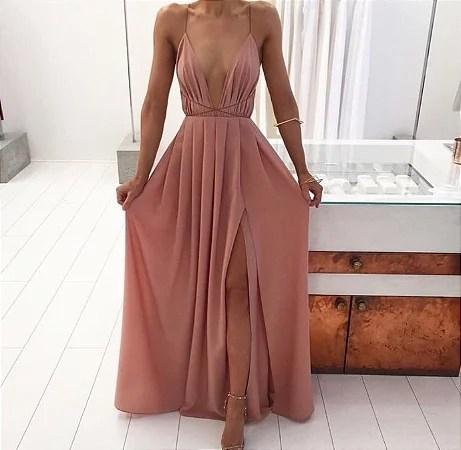 Vestido longo com decote ousado e fenda na cor Rose - @ateliemyway - Ateliê  My Way