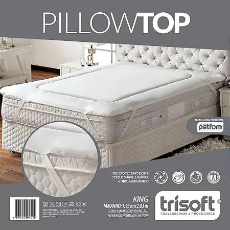 pillow top king size 1 93m x 2 03m fibras petfom trisof