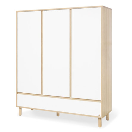 armoire enfant 3 portes flow blanc naturel