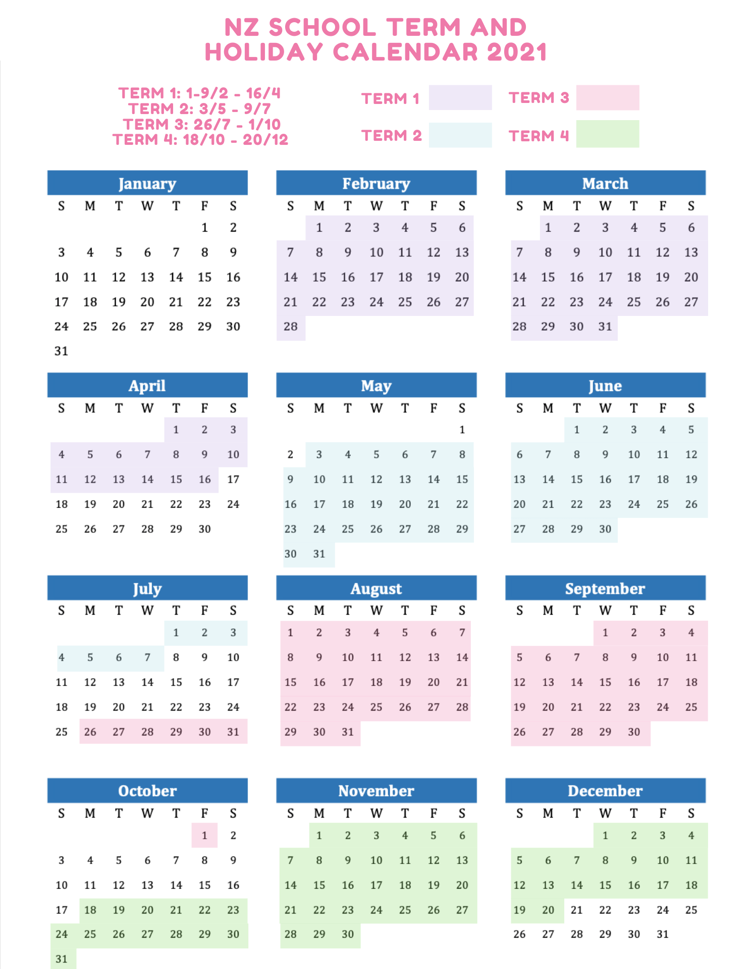 Get organised for the year ahead with one the best calendars for 2021. School Terms and Holidays NZ 2021-2022   Printable Calendars