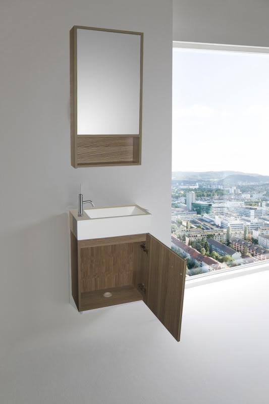 meuble de salle de bain minimal2 46 cm chene clair lavabo et miroir avec mitigeur en cadeau