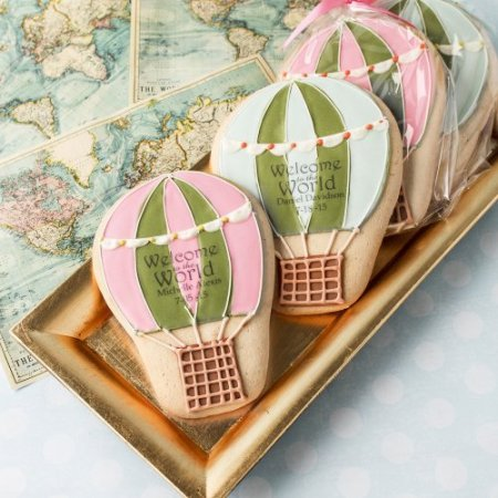 Personalized Welcome Baby Hot air balloon Cookies