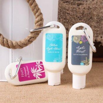 Sunscreen baby shower bottle favor