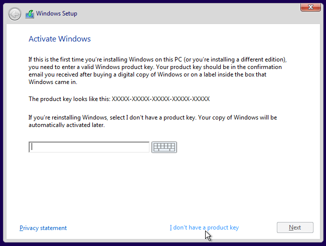 Escaping product key in windows 10
