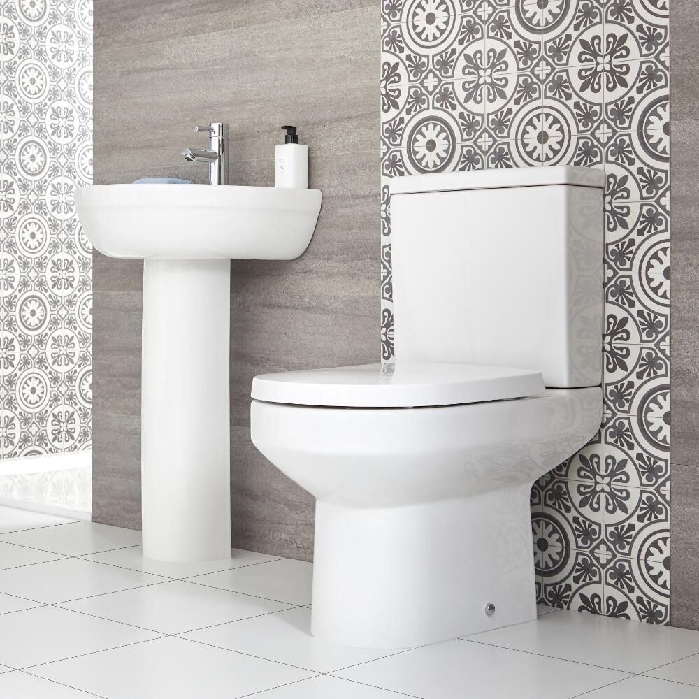 milano ballam modern close coupled toilet and pedestal basin set
