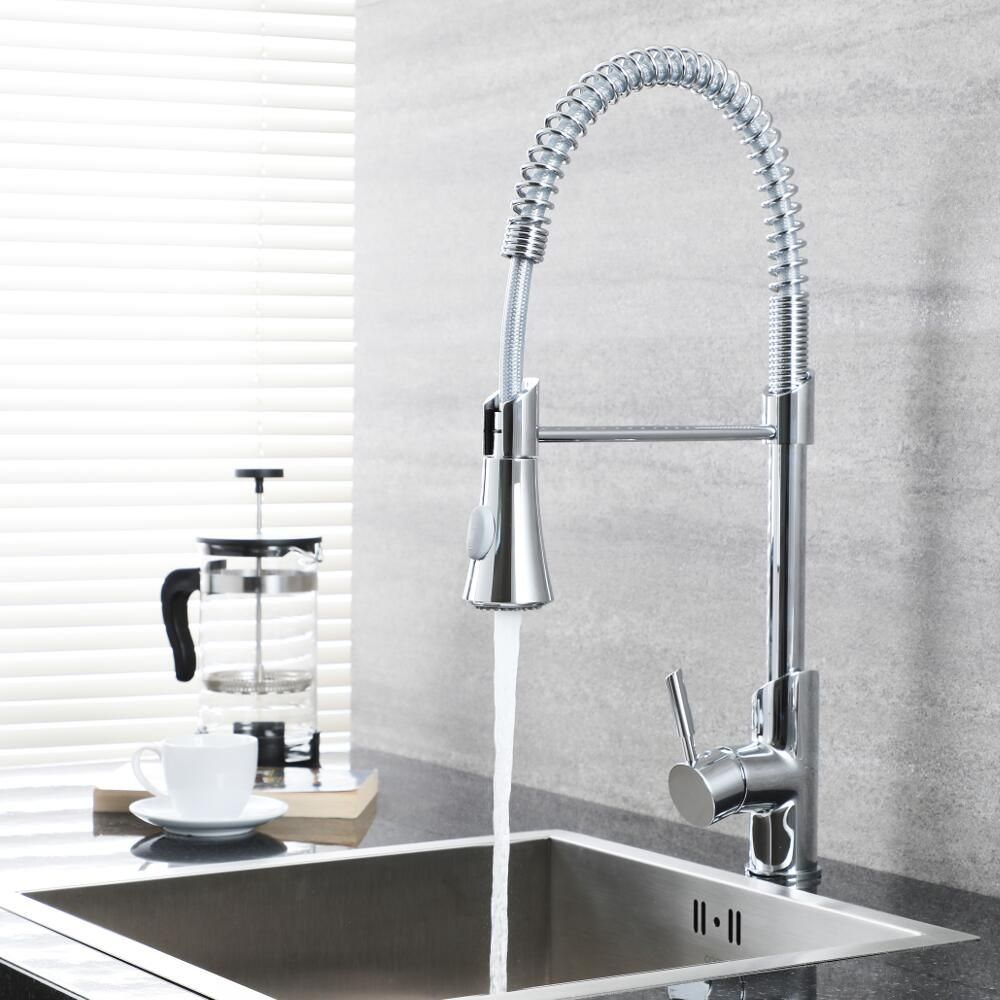 milano mirage modern deck mounted pull down spray kitchen tap chrome