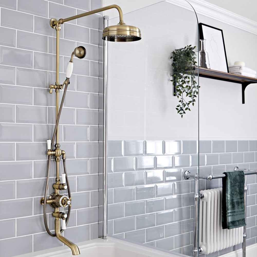 milano elizabeth brushed gold traditional triple exposed thermostatic shower with grand rigid riser rail and bath spout 3 outlet