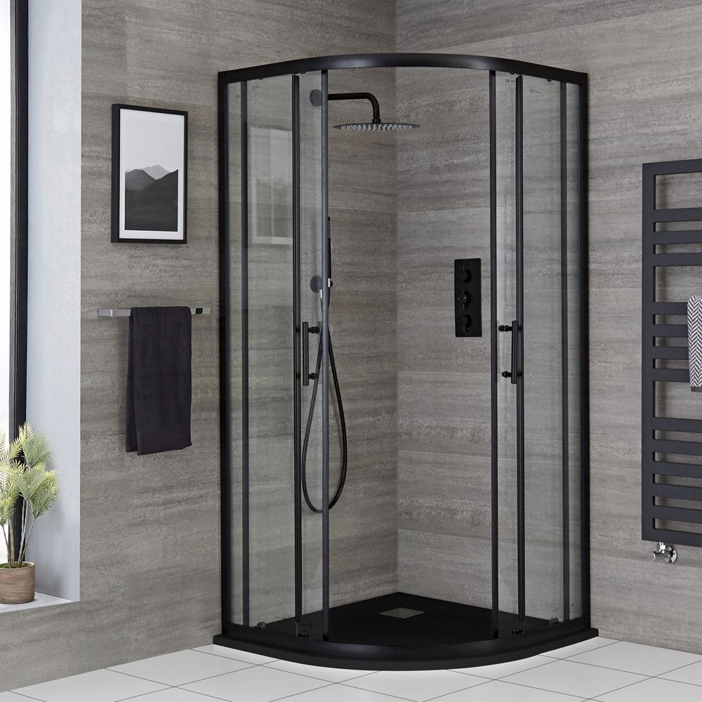 Milano Nero Black Quadrant Shower Enclosure Choice Of Sizes