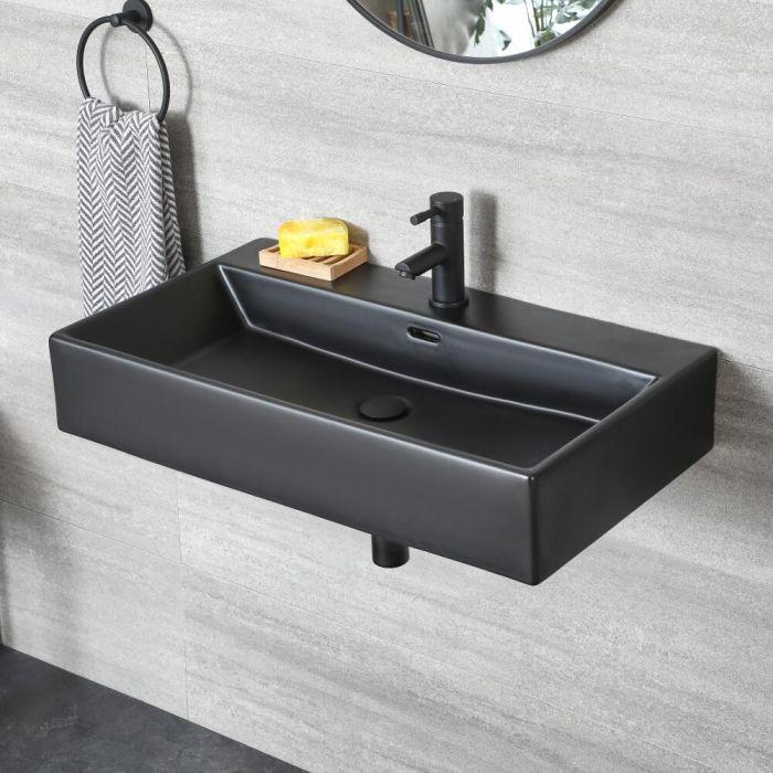 milano nero black modern rectangular wall hung basin 750mm x 420mm 1 tap hole