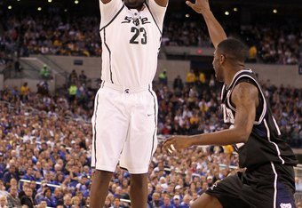 INDIANAPOLIS - APRIL 03:  Draymond Green #23 of the Michigan State Spartans shoots the ball against the Butler Bulldogs during the National Semifinal game of the 2010 NCAA Division I Men's Basketball Championship on April 3, 2010 in Indianapolis, Indiana.  (Photo by Andy Lyons/Getty Images)