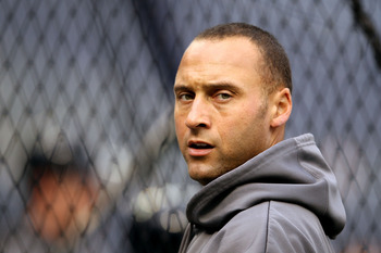NEW YORK - OCTOBER 20:  Derek Jeter #2 of the New York Yankees looks on during batting practice against the Texas Rangers in Game Five of the ALCS during the 2010 MLB Playoffs at Yankee Stadium on October 20, 2010 in the Bronx borough of New York City.  (