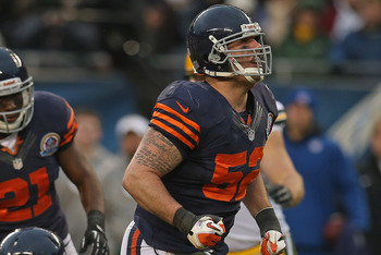 CHICAGO, IL - DECEMBER 16:  Blake Costanzo #52 of the Chicago Bears celebrates after a tackle against the Green Bay Packers at Soldier Field on December 16, 2012 in Chicago, Illinois. The Packers defeated the Bears 21-13.  (Photo by Jonathan Daniel/Getty