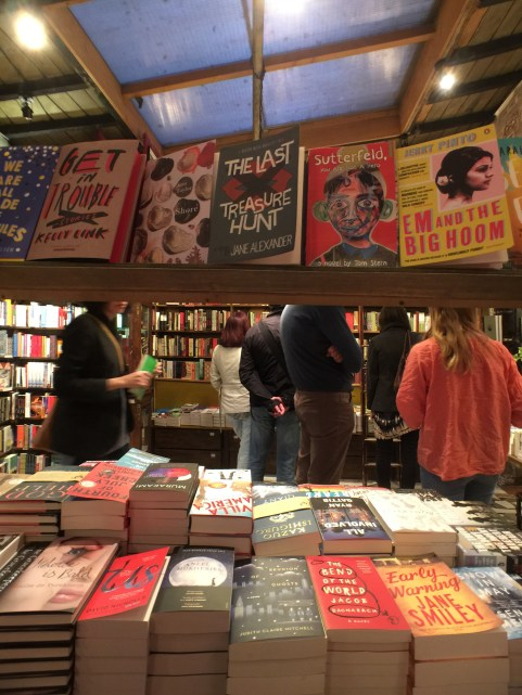 Shoppers browse the books at Shakespeare and Company bookstore in Paris, France.