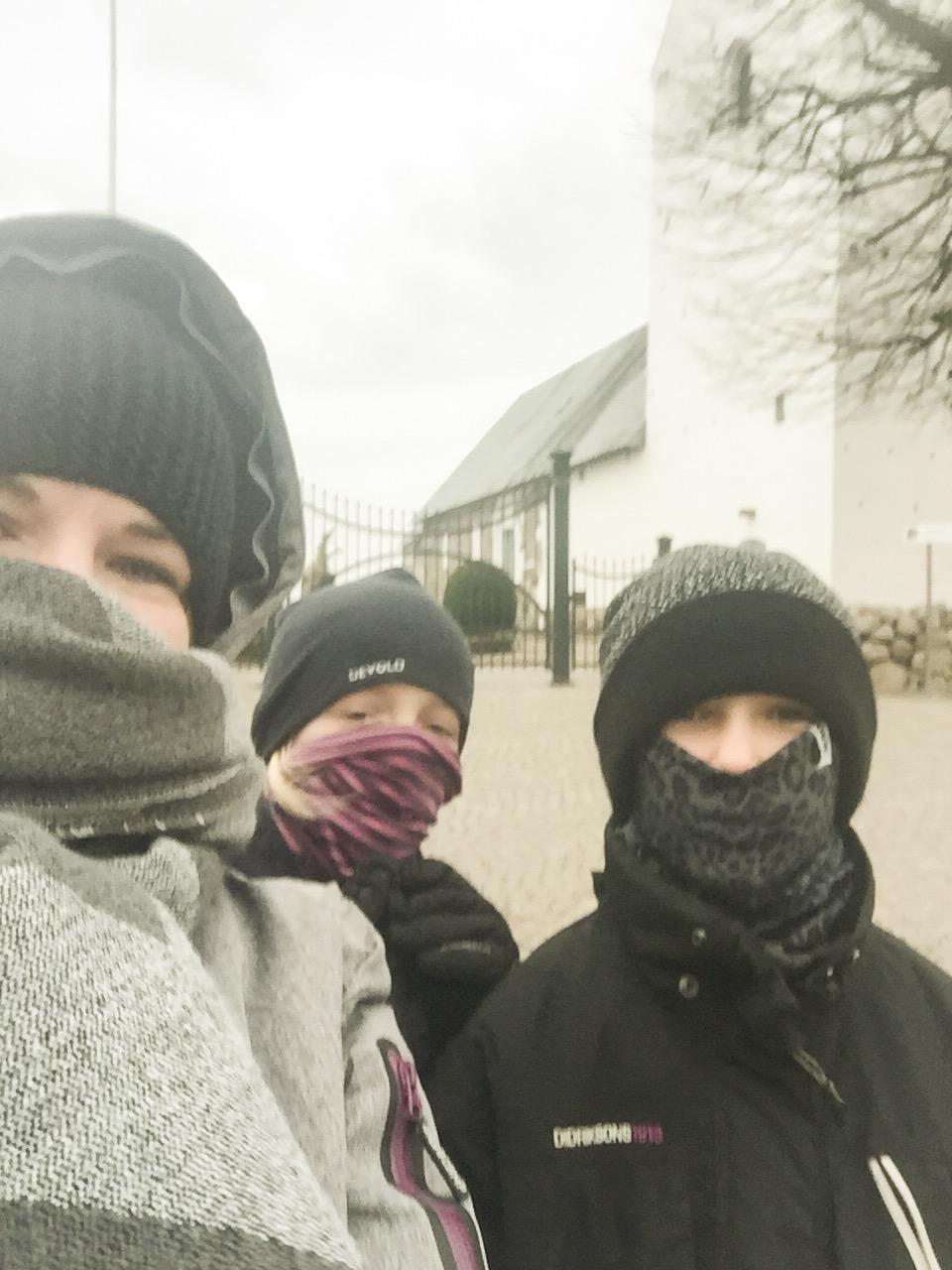 Mine søde små gåkammerater fra igår. Vi trodsede kulden.