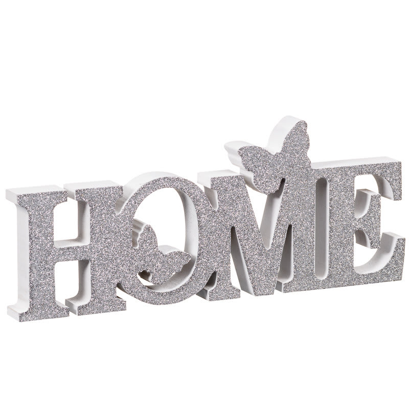 Home Butterflies Word Block Silver Home Accessories