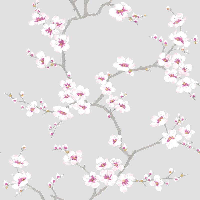 Fresco Apple Blossom Tree Wallpaper Grey Decorating DIY