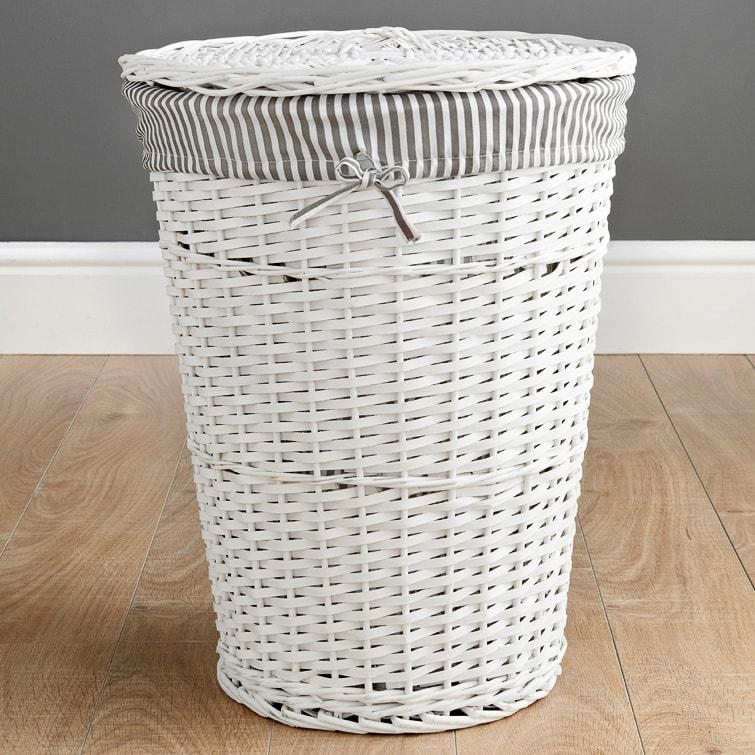 Wicker Laundry Hamper White Stripes Laundry B M