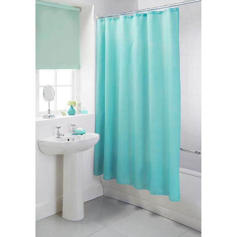 Plain Shower Curtain Aqua Bathroom Accessories BampM