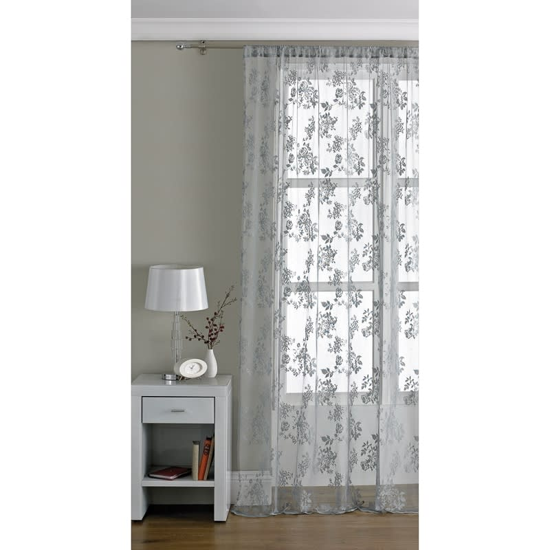 Traditional Lace Voile 145 X 228cm Grey Voiles Home BampM