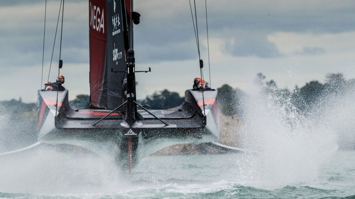 Yachts racing at the 36th America's Cup in 2021